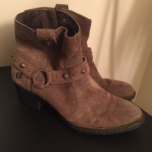 Born Tan Suede Studded Ankle Booties | 8.5